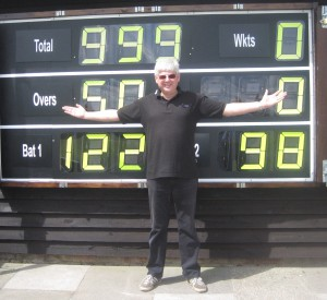 Les Dean with our new electric scoreboard installed in 2015